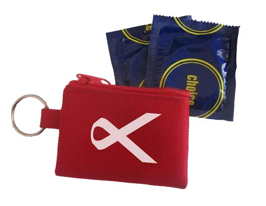 Aids day keyring pouch with condom